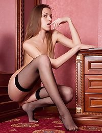 Blondie superslut wears nothing shoal velvety dark-hued pantyhose